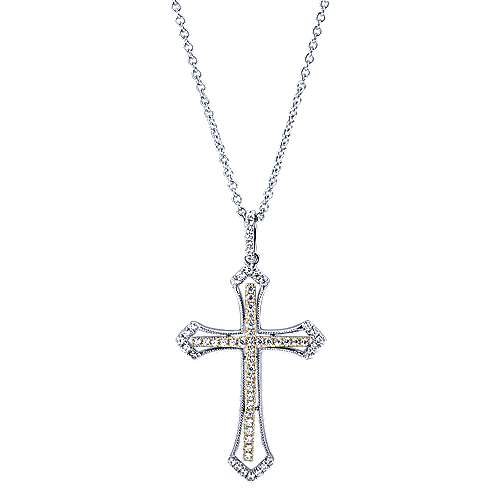14k Yellow And White Gold Faith Cross Necklace angle 1