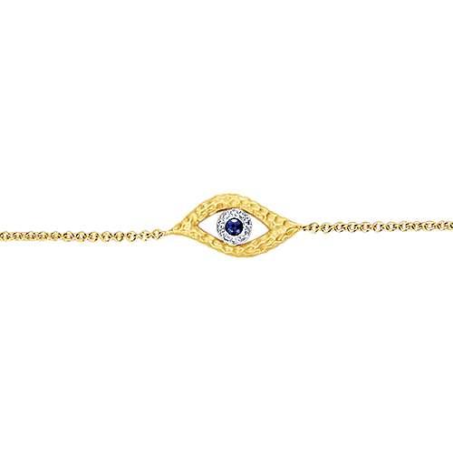 14k Yellow And White Gold Faith Evil Eye Bracelet angle 2