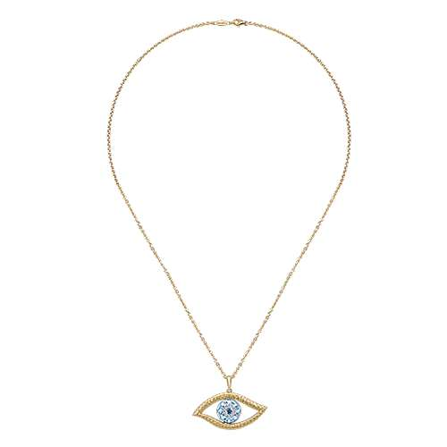 14k Yellow And White Gold Faith Evil Eye Necklace angle 2