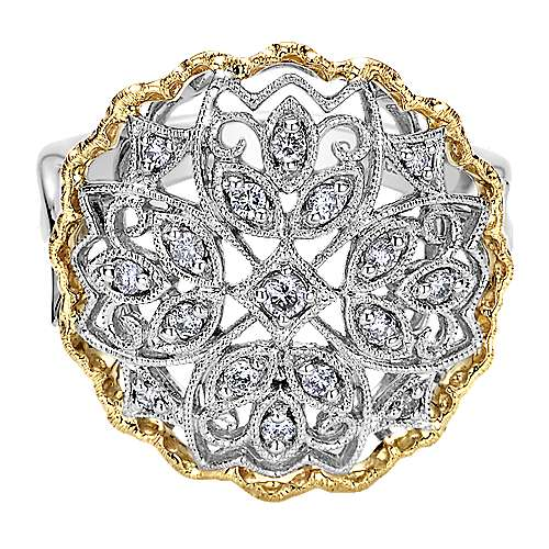 Gabriel - 14k Yellow And White Gold Flirtation Fashion Ladies' Ring