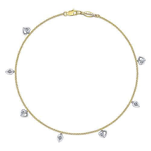 Gabriel - 14k Yellow And White Gold Floral Chain Ankle Bracelet