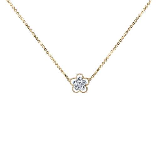 Gabriel - 14k Yellow And White Gold Floral Fashion Necklace