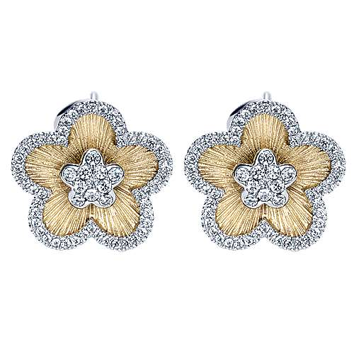 Gabriel - 14k Yellow And White Gold Floral Stud Earrings