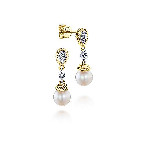 14k Yellow And White Gold Grace Drop Earrings