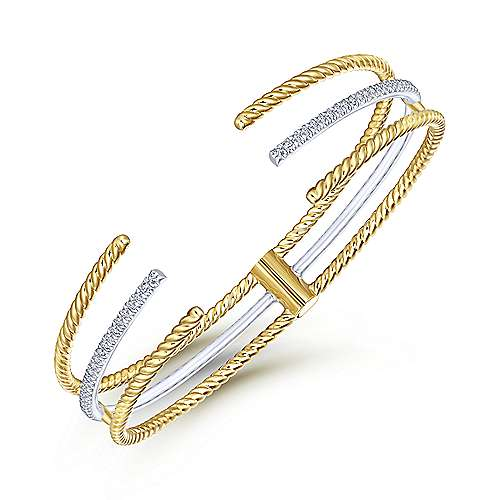 14k Yellow And White Gold Hampton Bangle angle 2