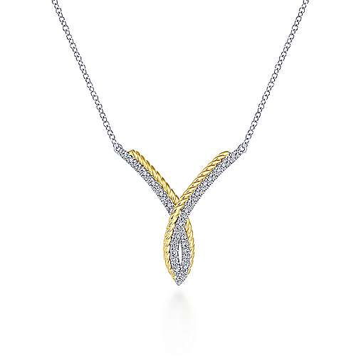 Gabriel - 14k Yellow And White Gold Hampton Bar Necklace