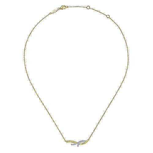 14k Yellow And White Gold Hampton Bar Necklace angle 2