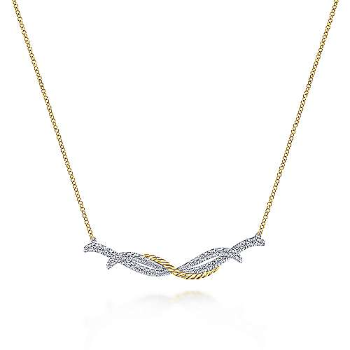 Gabriel - 14k Yellow And White Gold Hampton Bar Necklace