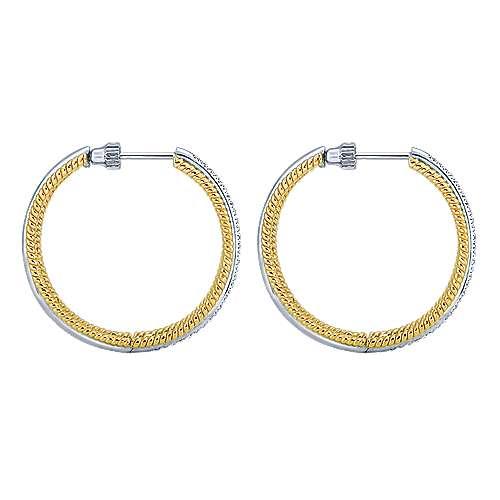 14k Yellow And White Gold Hampton Classic Hoop Earrings angle 3