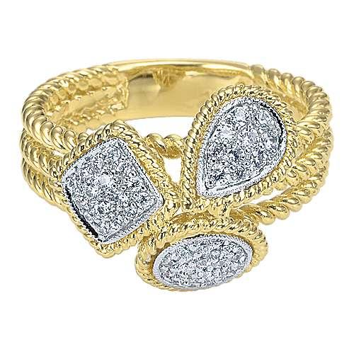 Gabriel - 14k Yellow And White Gold Hampton Classic Ladies' Ring