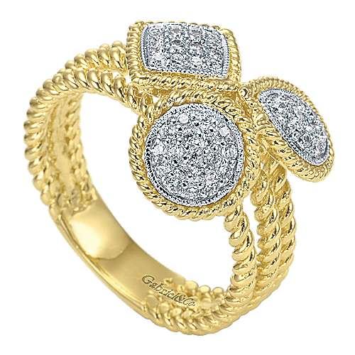 14k Yellow And White Gold Hampton Classic Ladies' Ring angle 3