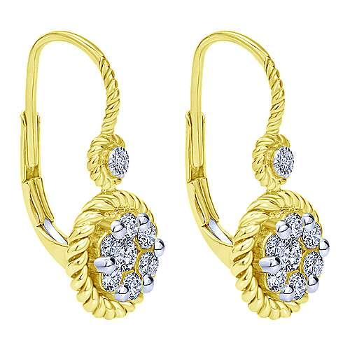 14k Yellow And White Gold Hampton Drop Earrings angle 2
