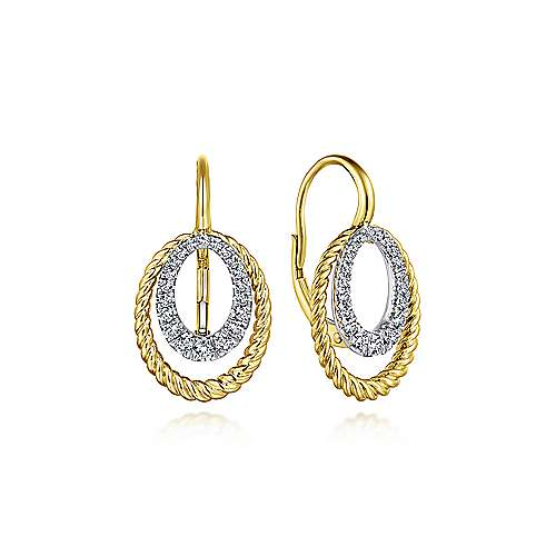 14k Yellow And White Gold Hampton Drop Earrings