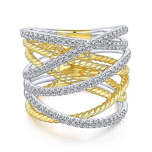 Gabriel - 14k Yellow And White Gold Hampton Fashion Ladies' Ring