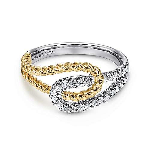 14k Yellow And White Gold Hampton Fashion Ladies' Ring angle 1