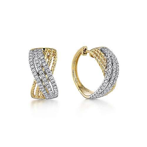 14k Yellow And White Gold Hampton Huggie Earrings angle 1