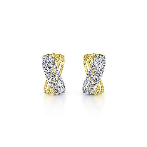 14k Yellow And White Gold Hampton Huggie Earrings angle 3