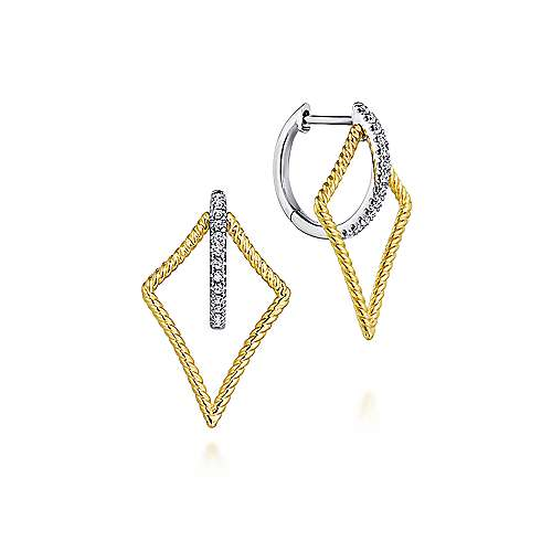 14k Yellow And White Gold Hampton Huggie Earrings angle 1