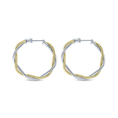 14k Yellow And White Gold Hampton Inside Out Diamond Hoop Earrings angle 2