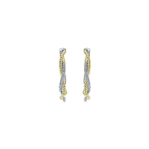 14k Yellow And White Gold Hampton Inside Out Diamond Hoop Earrings angle 3