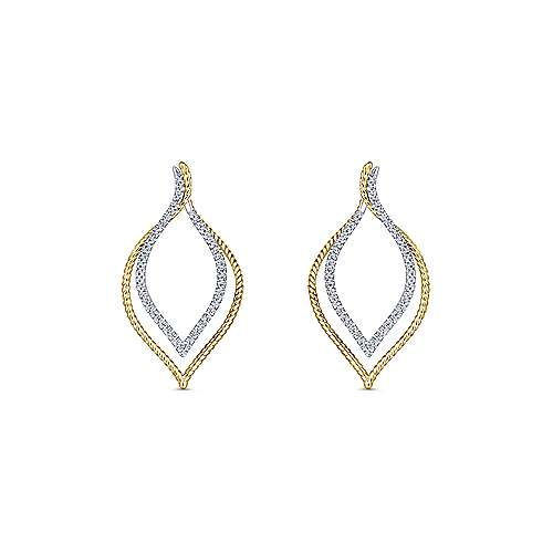 14k Yellow And White Gold Hampton Intricate Hoop Earrings angle 3