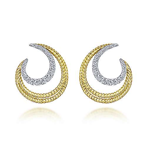 14k Yellow And White Gold Hampton Stud Earrings angle 1