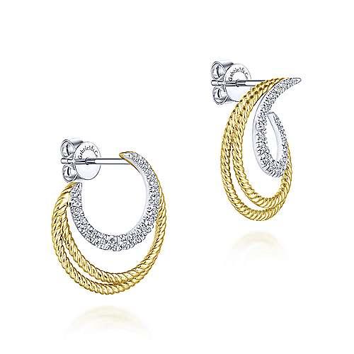 14k Yellow And White Gold Hampton Stud Earrings angle 2