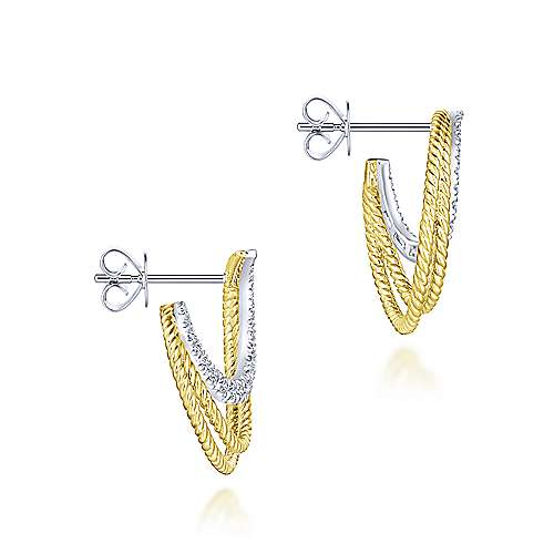14k Yellow And White Gold Hampton Stud Earrings angle 3
