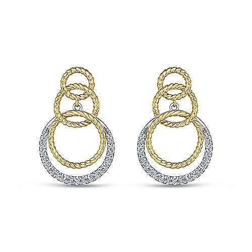 Gabriel - 14k Yellow And White Gold Hampton Stud Earrings