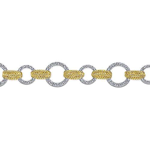 14k Yellow And White Gold Hampton Tennis Bracelet angle 2