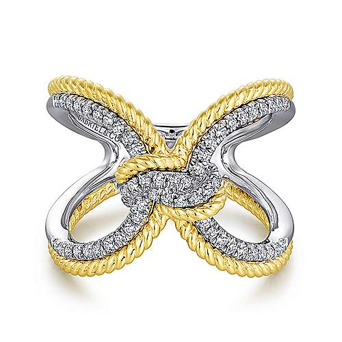 14k Yellow And White Gold Hampton Twisted Ladies' Ring angle 1