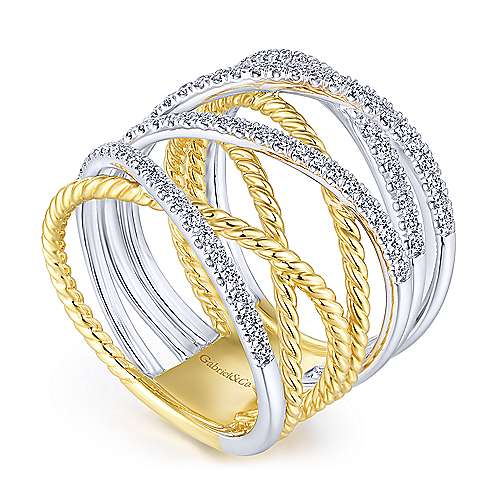 14k Yellow And White Gold Hampton Twisted Ladies' Ring angle 3