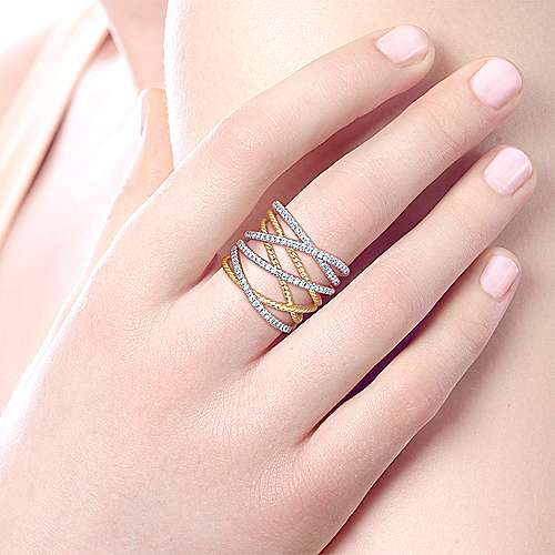 14k Yellow And White Gold Hampton Twisted Ladies' Ring angle 5