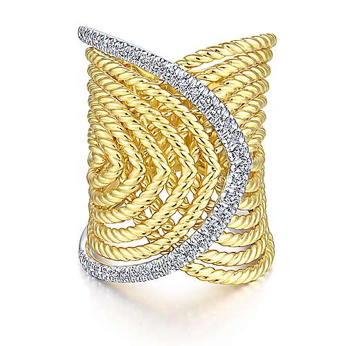 14k Yellow And White Gold Hampton Twisted Ladies' Ring