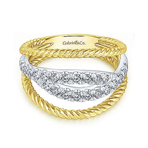 Gabriel - 14k Yellow And White Gold Hampton Twisted Ladies' Ring