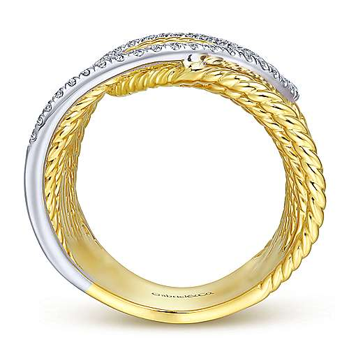 14k Yellow And White Gold Hampton Wide Band Ladies' Ring angle 2