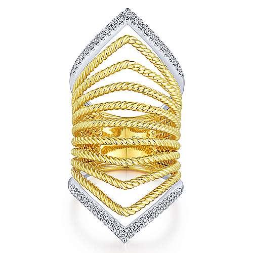 Gabriel - 14k Yellow And White Gold Hampton Wide Band Ladies' Ring