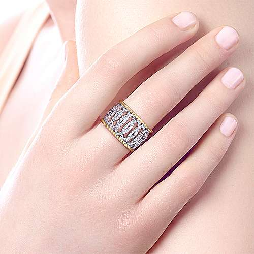 14k Yellow And White Gold Hampton Wide Band Ladies' Ring angle 5
