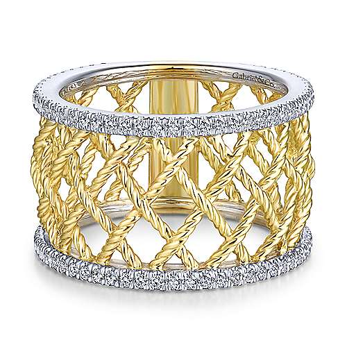 Gabriel - 14k Yellow And White Gold Hampton Wide Band Ladies Ring