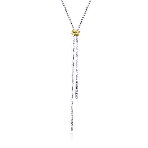 14k Yellow And White Gold Hampton Y Knots Necklace