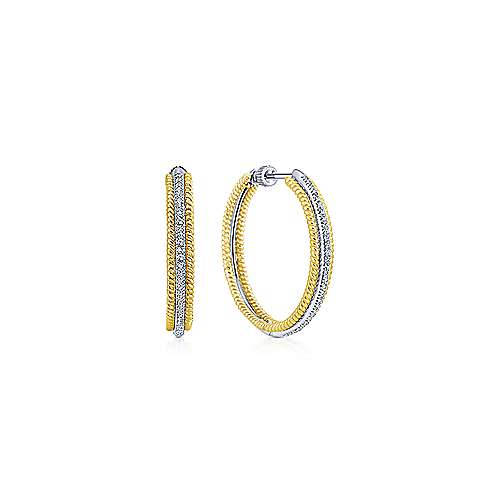 Gabriel - 14k Yellow And White Gold Hoops Classic Hoop Earrings