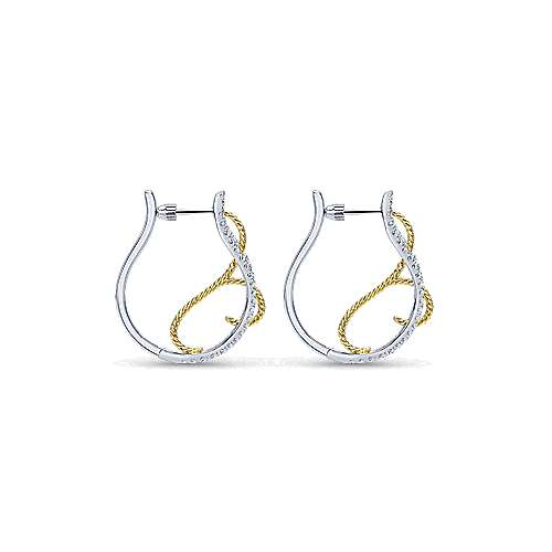 14k Yellow And White Gold Hoops Intricate Hoop Earrings angle 2