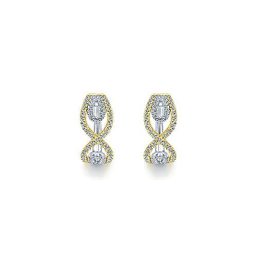 14k Yellow And White Gold Huggies Huggie Earrings angle 3