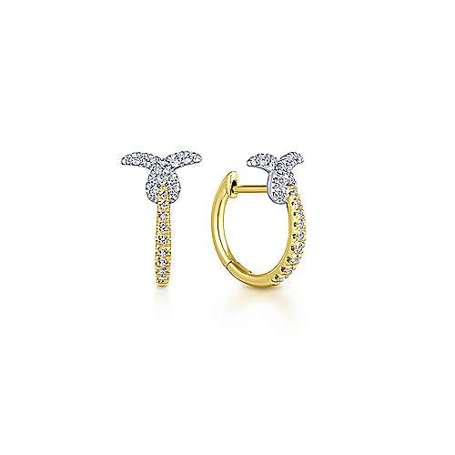 Gabriel - 14k Yellow And White Gold Huggies Huggie Earrings