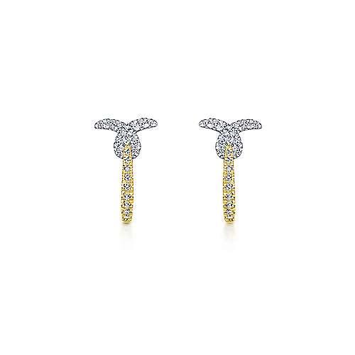 14k Yellow And White Gold Huggies Huggie Earrings angle 3