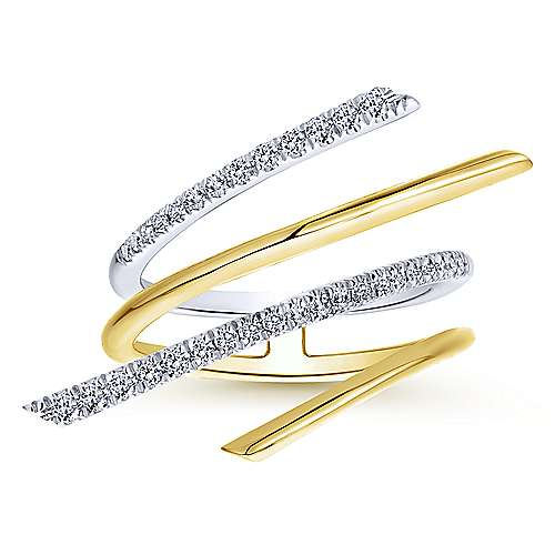 14k Yellow And White Gold Lusso Diamond Fashion Ladies' Ring angle 4