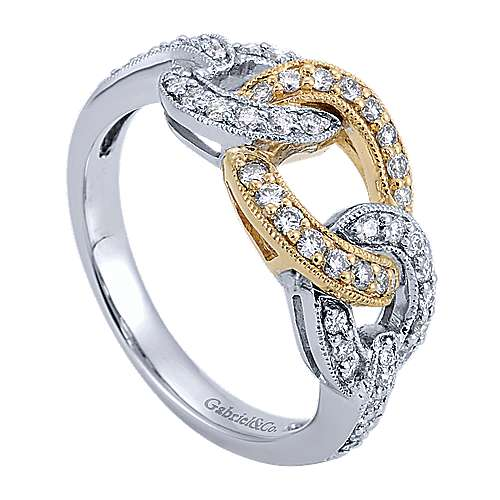 14k Yellow And White Gold Lusso Diamond Fashion Ladies' Ring angle 3
