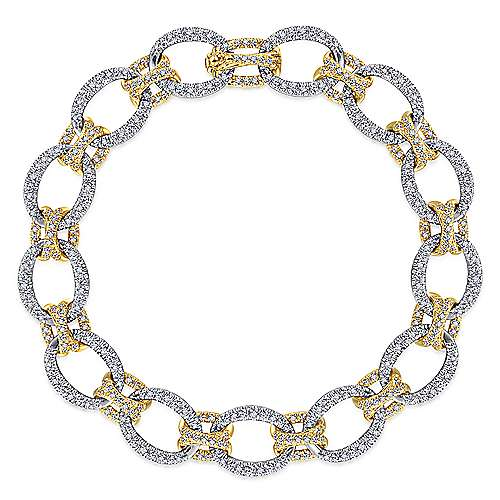 Gabriel - 14k Yellow And White Gold Lusso Diamond Tennis Bracelet