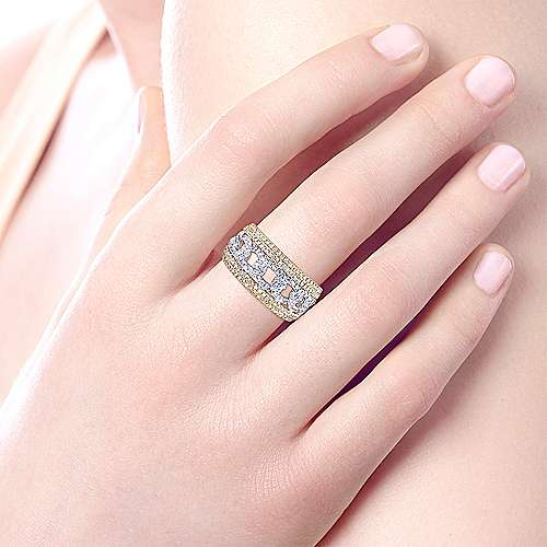 14k Yellow And White Gold Lusso Diamond Wide Band Ladies' Ring angle 5