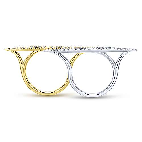 14k Yellow And White Gold Lusso Double Ring Ladies' Ring angle 2